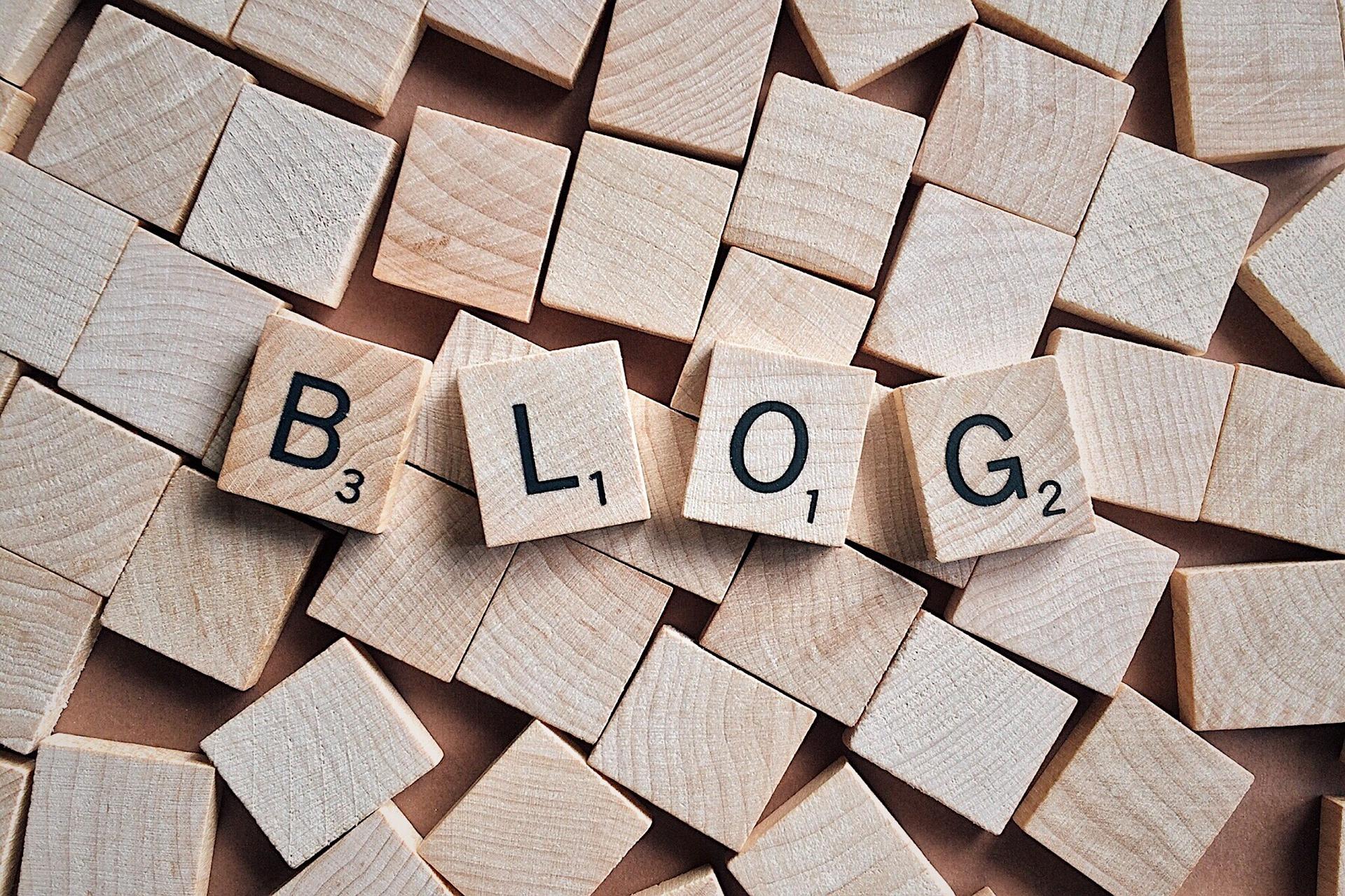 ブログを意味する木ブロック