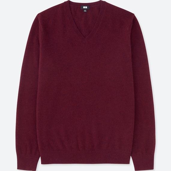 カシミヤVネックセーター(長袖)ワインカラーのLサイズ