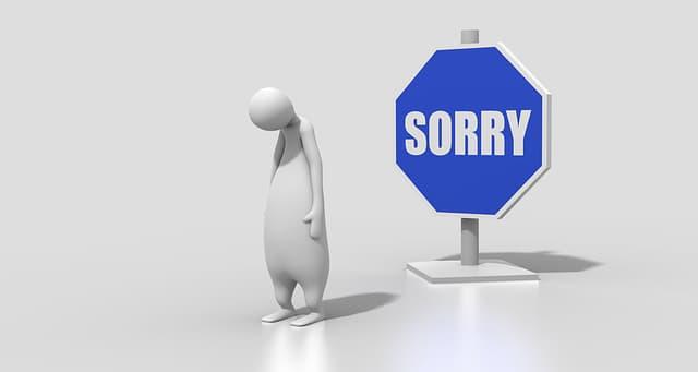 頭が悪い人が周りに謝っているところ
